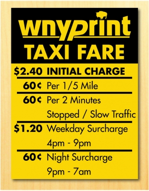 Taxi Cab Graphics, magnets and Rate Stickers